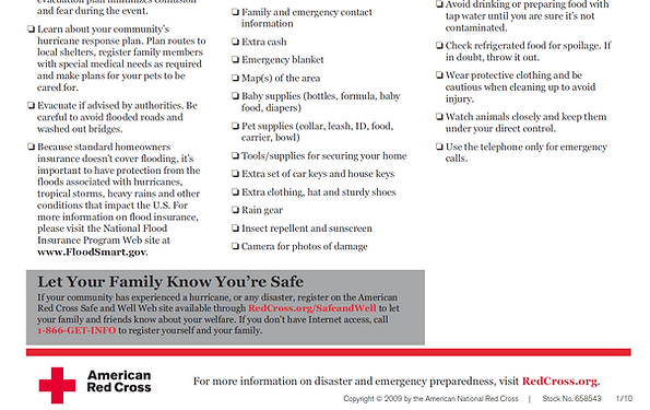 download red cross hurricane checklist