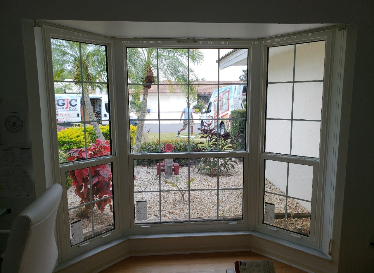 impact glass bay windows with grids