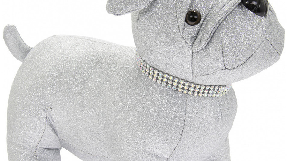 Silver Bling Dolly Pug Door Stop