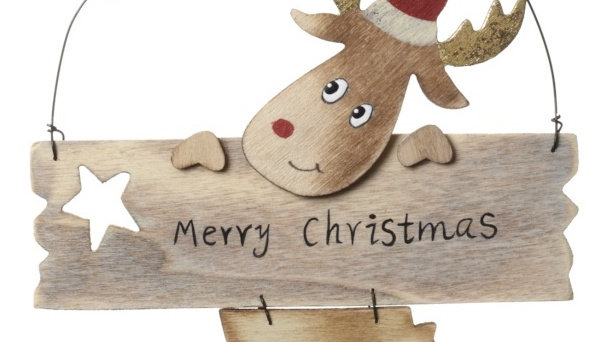 Hanging Wooden Rudolph