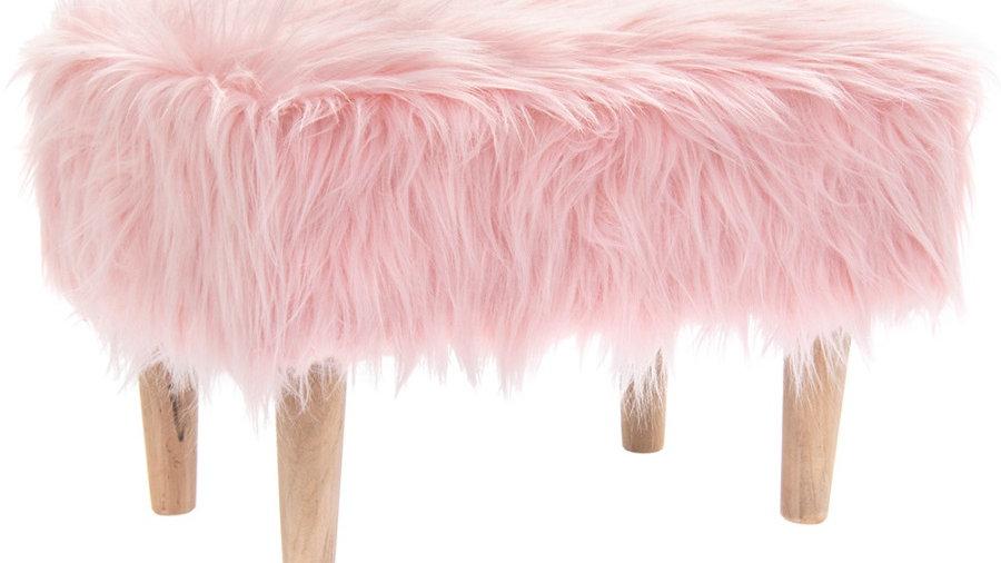 Pink Fluffy Foot Stool