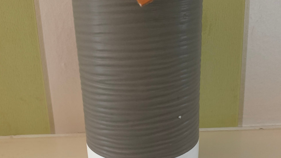 Ceramic vase with leatherette love heart