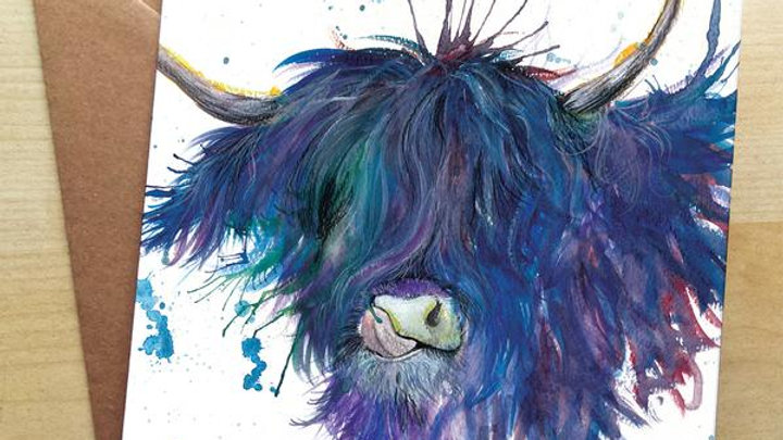 Highland Cow Greetings Card by Katherine Williams