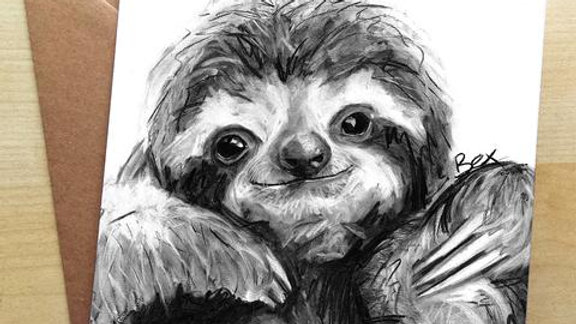Sloth Greetings Card by Bex Williams