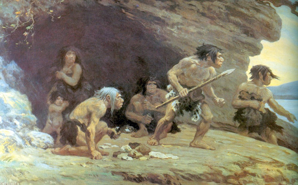 A family of cave people on the lookout from their cave (home).