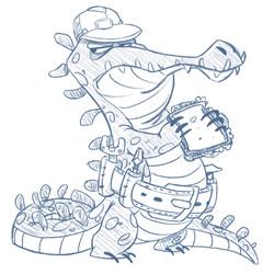 Crocodile worker lunchtime.
