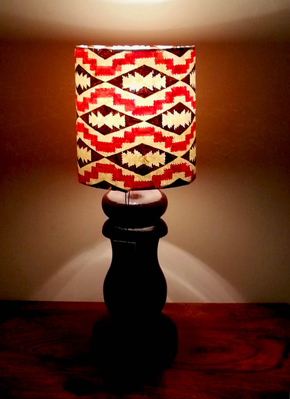 Ikat lamp with wood stand