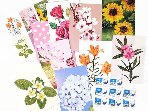 Floral Postcards   Set of 8 with postal stamps