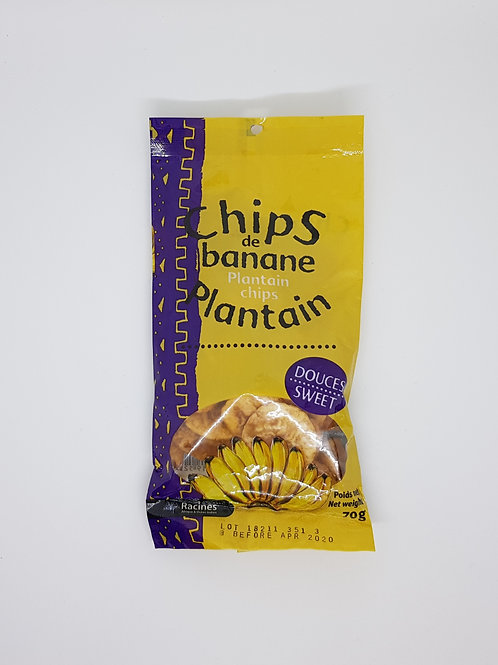 Chips de banane plantain douces 70g