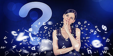 Young woman thinking while surrounded by question mark and letters.