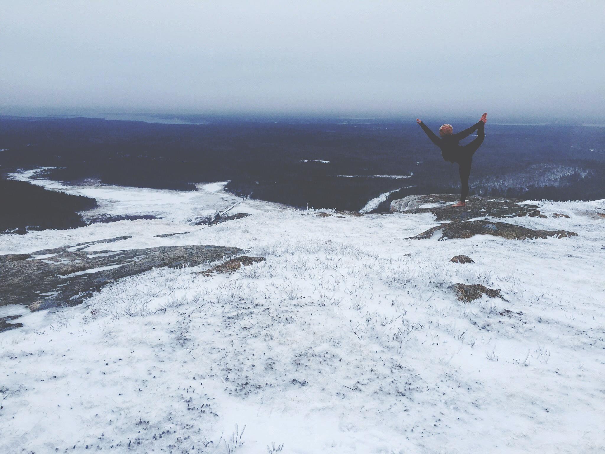yoga nature winter sachi cote