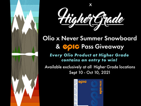 Enter to win an Olio x Never Summer Snowboard!