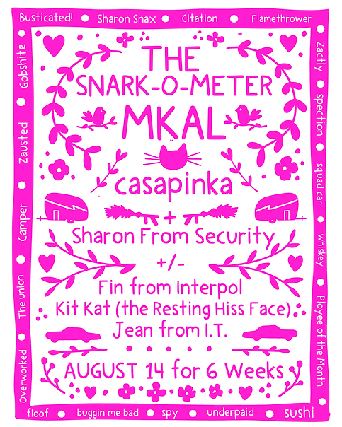 """Pink and White promotion for the """"Snark-O-Meter"""" mystery knit along from casapinka"""