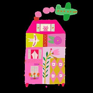 Pink house used as a logo for knitting desinger Casapinka