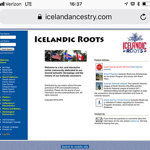 Iceland Genealogy Database  Annual Subscription