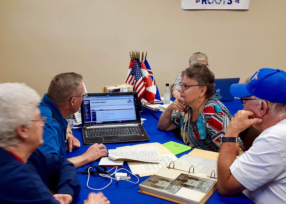 Icelandic Roots working at the Deuce of August Genealogy Center