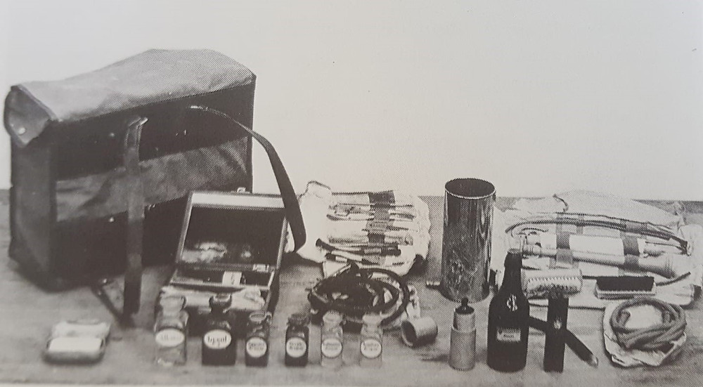 A Midwife´s Bag, along with all the equipment that came with it from the landlæknisembætti.  The midwife would carry this bag to all her deliveries. From the book Ljósmæður á Íslandi Volume II pg 320