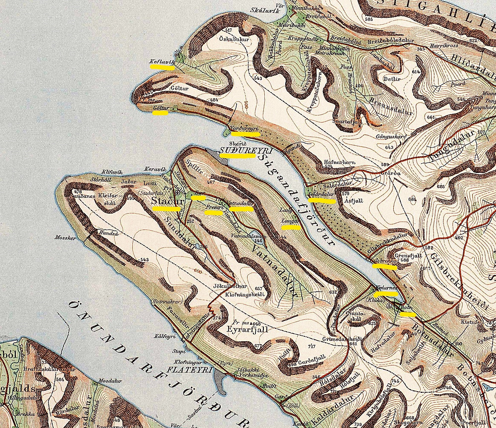 A map of Súgandafjörður in the Westfjörds of Iceland.  Highlighted in yellow are all the farms included in Guðrún´s midwifery district.  These were Staður, Fremri and Neðri Vatnadalur, Bær, Suðureyri, Selárdalur, Laugar, Göltur, Norðureyri, Kvíanes, Botn, Gilsbrekka and Keflavík.- 1934 Map.  www.islandskort.is