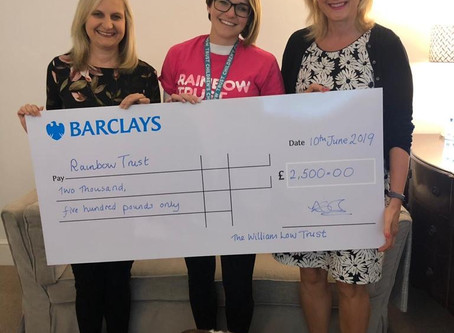 £2,500 donated by The William Low Trust to Rainbow Trust