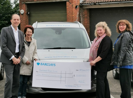 £1,000 donated by The William Low Trust to Barbara Bus Fund