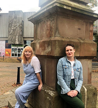 Anna FC Smith and Helen Mather outside the Obelisk, Leigh.jpg