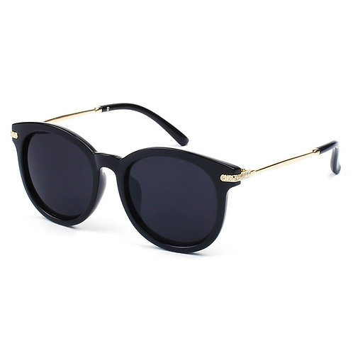 Round P3 Horn Rimmed Sunglasses With Embossed Hinges