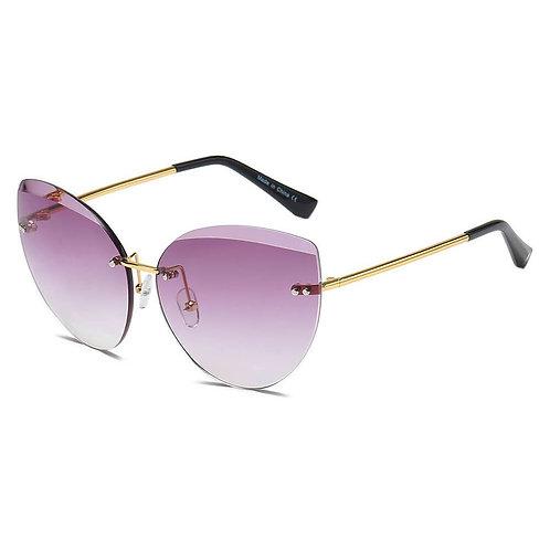 Women Rimless Round Cat Eye Sunglasses