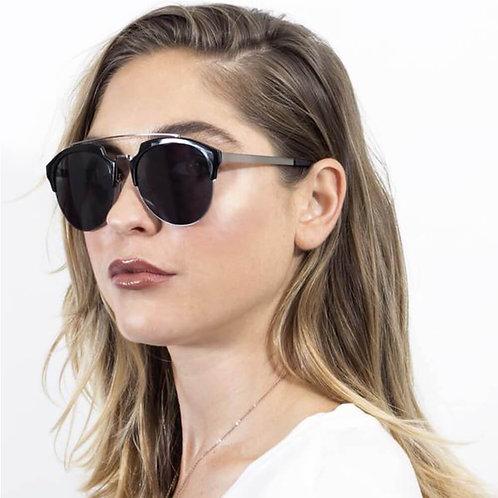 Half Frame Mirrored Lens Horned Rim Sunglasses Circle