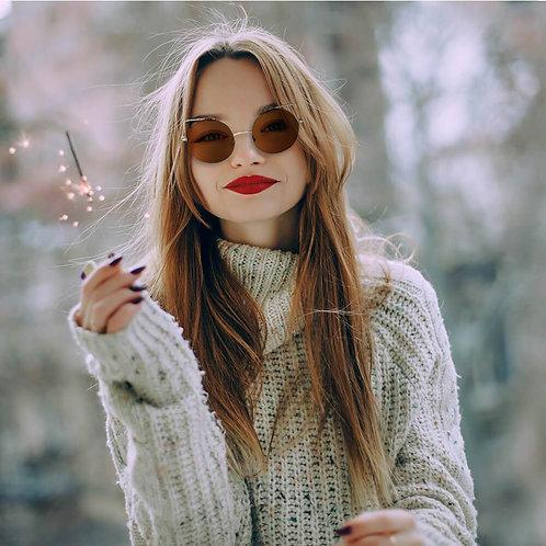 Women Mirrored Lens Round Cat Eye Sunglasses