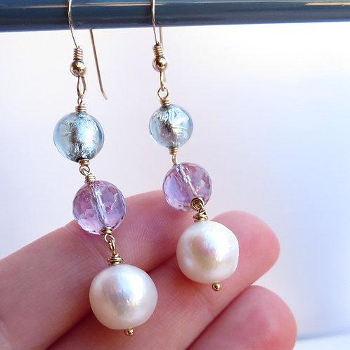 Pearl Amethyst Gemstone Murano Gold Earrings