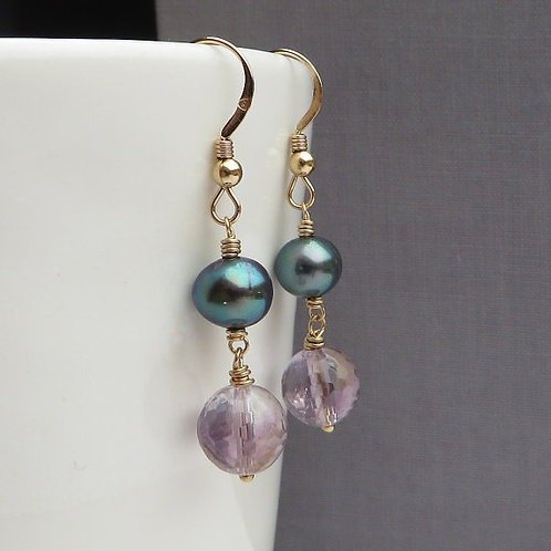 Natural Amethyst and Black Pearls Gold Earrings