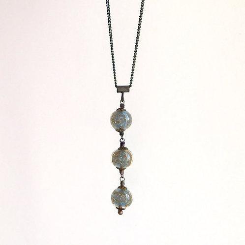 Vintage Blue Opal Murano Venetian Glass Pendant Necklace