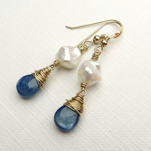 Blue Kyanite White Keishi Pearls Gold Earrings