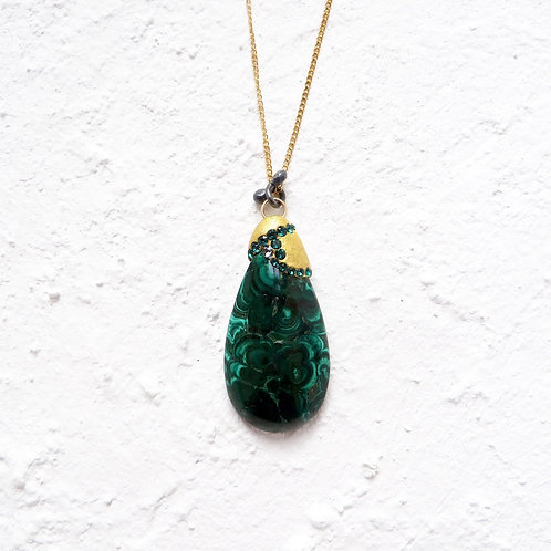 Malachite Natural Stone Pendant Necklace Art Jewellery Gold Chain