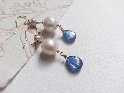 Blue Kyanite Gemstone Freshwater Pearls 14k Gold Filled Earrings