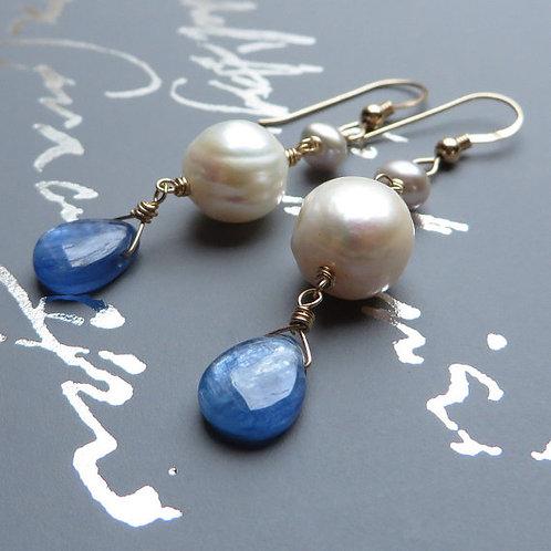 Kyanite Pearls Gold Earrings