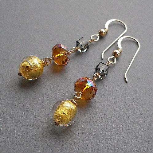 Gold Murano Crystal Dangle Earrings