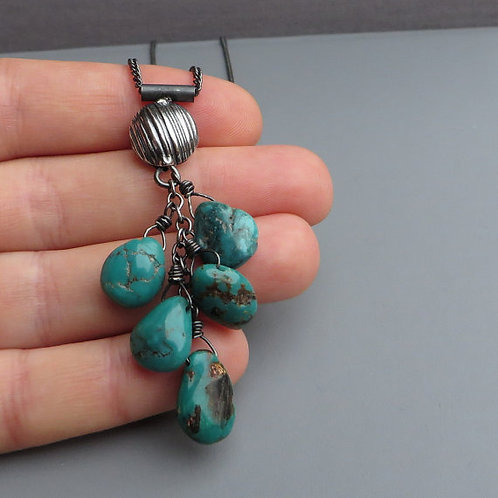 Natural Turquoise Black Silver Necklace