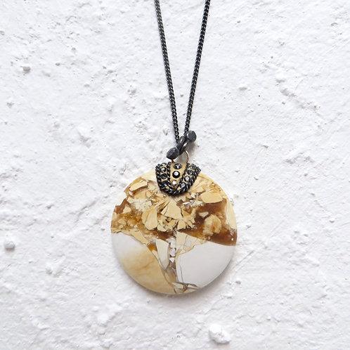 Brecciated Mookaite Jasper Pendant Necklace Black Silver Custom Chain Length