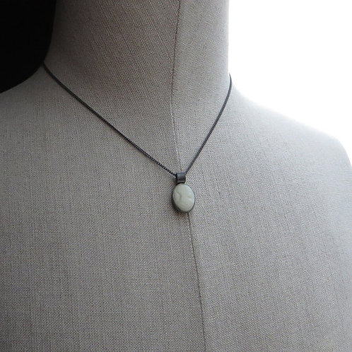 Vintage 1930s Ivory Glass Greek Roman Bust Cameo Black Silver Necklace