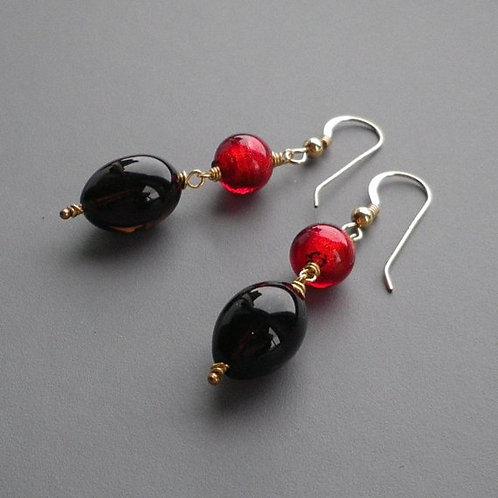 Smoky Quartz Red Murano Gold Earrings