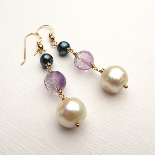 Pearls and Amethyst Gold Earrings