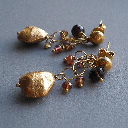 Spinel and Smoky Quartz 24k Gold Vermeil Dangle Earrings
