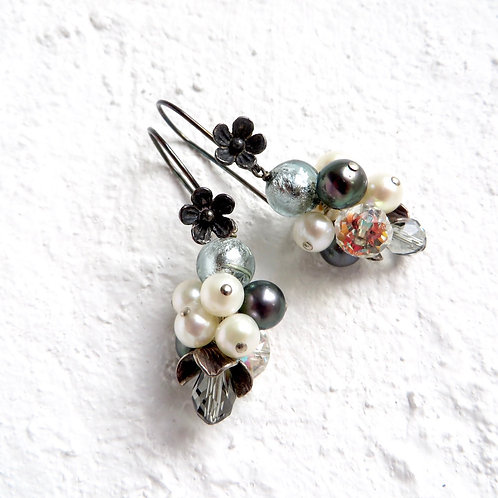 White Black Pearls Murano Grape Oxidised Silver Flower Earrings