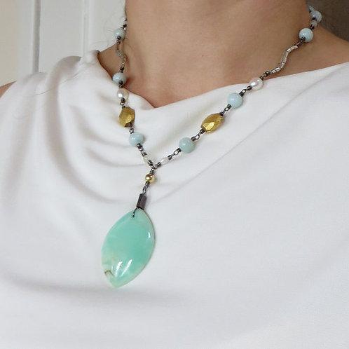Australian Chrysoprase Statement Pendant Artisan Silver Necklace