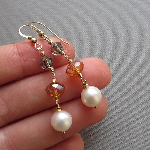 White Pearl Crystal Gold Dangle Earrings