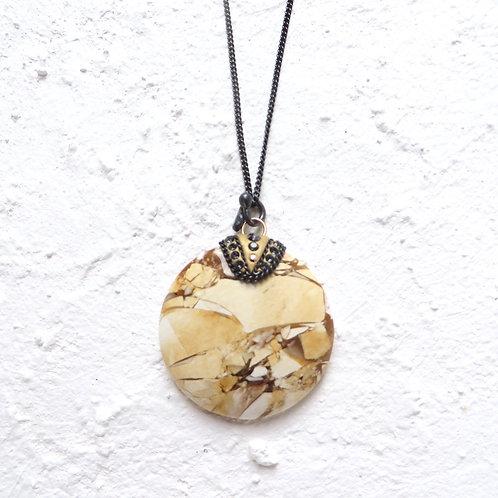 Brecciated Mookaite Jasper Pendant Necklace Oxidised Silver