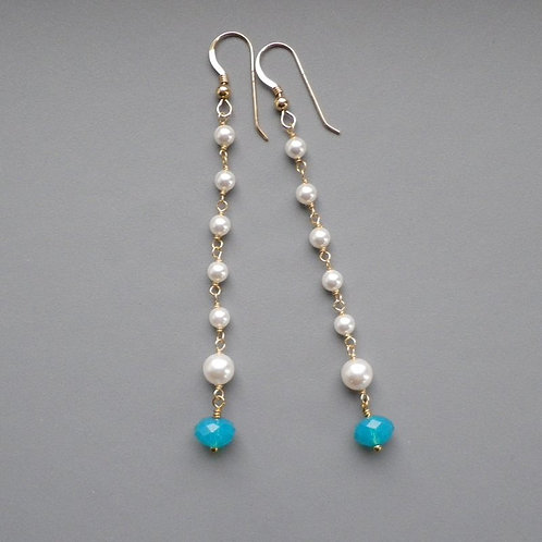Crystal Pearls Blue Opal Gold Earrings
