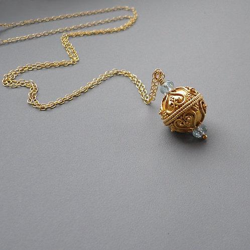 Aquamarine Gold Arabesque Ball Sphere Pendant Necklace