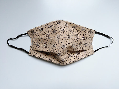 100% Cotton Washable Face Mask Beige Hexagons Print Face Covering Handmade in UK
